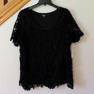 Simply Emma Lacey Black Layered Shirt - 1X